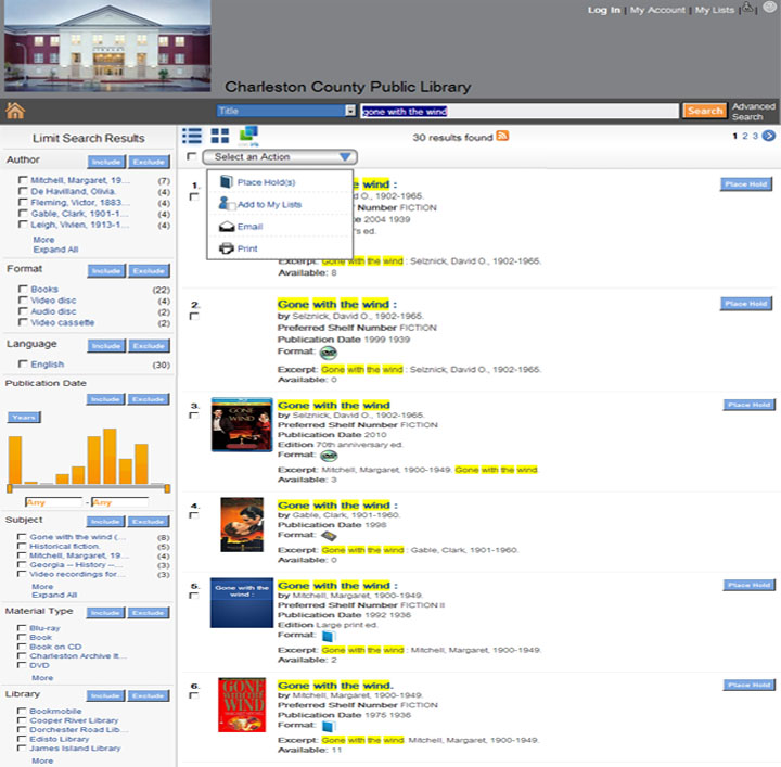 Catalog Search Results Page